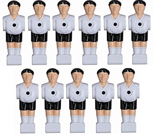1a-sports 11 Kickerfiguren für 16 mm Stangen inkl. Schrauben + Muttern Komplett Set (Schwarz-Weiß) von Charlsten