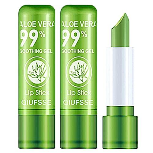 3PCS Aloe Vera Lipstick,QIUFSSE Moisturizing Aloe Lipstick Magic Temperature Color Change Lipstick Lip Balm Lip Stain Long Lasting Waterproof Lip Makeup