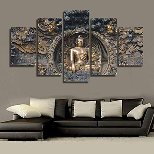 JIUYT 5 Pieces Modern Canvas Painting Wall Art The Picture Buddha Statue Buddhism for Living Room Frame Gallery-Wrapped Ready to Hang 5 Panels Posters Prints 60x32inch