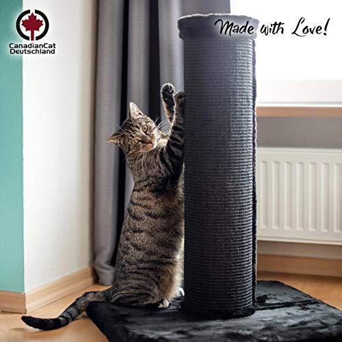 CanadianCat Company ®   Scratchpost XXL   Schwarz   ca. 19cm Säulendurchmesser   große Katzen   Sisal