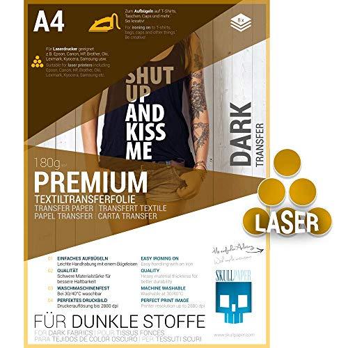 SKULLPAPER® Transferfolie FÜR DUNKLE STOFFE (*verbesserte Version*) - für Laserdrucker (A4-8 Blatt)