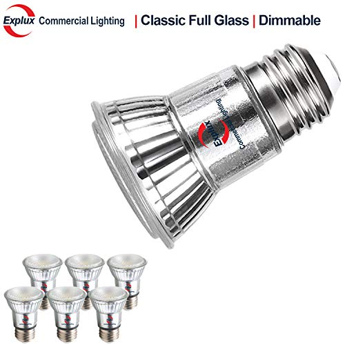 Explux Classic Full Glass LED PAR16 Flood Light Bulbs, Dimmable, 50W Equivalent, Indoor/Outdoor, 3000K Bright White, 6-Pack