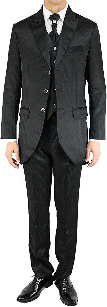 Wonder Stage Men's Slim Fit 4 Pc Black Tuxedo Suit Jacket Pants Vest Ascot Tie