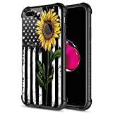iPhone 8 Case, 9H Tempered Glass Sunflower and Flag iPhone 7 Cases for Girls [Anti-Scratch] Fashion Cute Pattern Design Cover Case for iPhone 7/8 4.7-inch Sunflower Flag