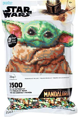 Perler 80-11149 The Mandalorian Baby Yoda Star Wars Fuse Bead Kit, 3503pcs
