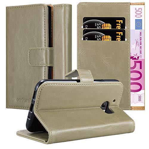 Cadorabo Hülle für HTC One M10 in Cappuccino BRAUN – Handyhülle mit Magnetverschluss, Standfunktion & Kartenfach – Hülle Cover Schutzhülle Etui Tasche Book Klapp Style