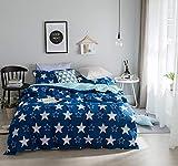 FANSU Conjuntos de Funda nórdica, 3pcs Funda de Almohada con Cremallera Suave de Fibra de Microfibra Ligera Elegante Elegante Protege y Cubre su edredón (Cama 90-150x200cm, Estrellas Azules)
