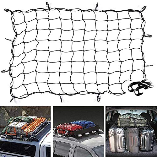 Senmubery 47 Inch X 36 Inch Cargo Net Bungee Stretches To 80 Inch X 60 Inch Mesh Holds More Than 200 Lbs Loads,16 Adjustable Hooks