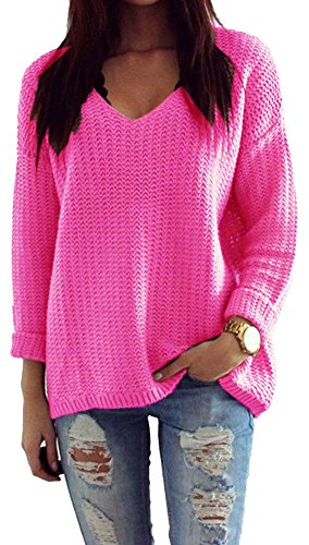 Mikos*Damen Pullover Winter Casual Long Sleeve Loose Strick Pullover Sweater Top Outwear (627) *Hergestellt in der EU - Kein Asienimport* (Neon Rosa)