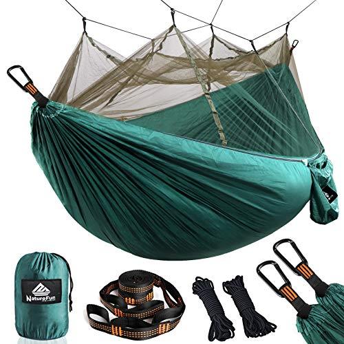 NATUREFUN Ultraleichte Moskito Netz Camping Hängematte / 300kg Tragfähigkeit,(275 x 140 cm) Atmungsaktiv, schnell trocknende/Enthalten 2 x Premium Karabinerhaken 4 x Nylonschlingen