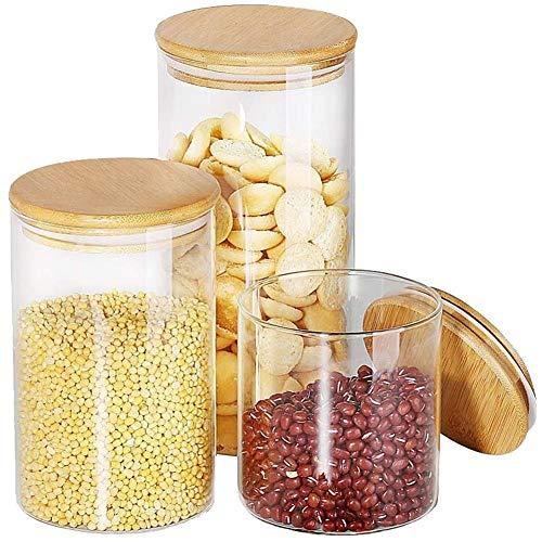 Große Vorratsgläser aus Glas – Weithals-Frischhaltedosen mit auslaufsicherem Bambusdeckel, ideales Küchenzubehör für Zucker, Kekse, Kaffee, Mehl, trockene Lebensmittel (3 Sets 750 ml, 1105 ml, 1502 g)