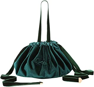 SODIAL New Velvet Drawstring Makeup Bag Case Women Large Capacity Storage Organizer Travel Make Up Cosmetic Bag Toiletry Bag Malachite Green