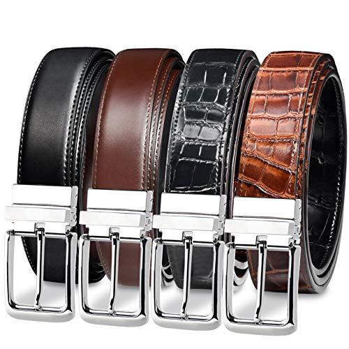 Genuine Leather Belts for Men Dress 2 Pack- Cowhide Bovine & Crocodile Reversible Belts for Mens Adjustable Belts Casual Dress Black Belt Brown for Work-trim to Fit 38-40