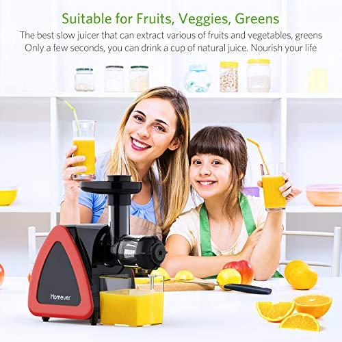 Homever Extracteur de Jus de Fruits et Légumes Sans BPA Slow Juicer avec Moteur Silencieux et Fonction Inverse, et Livré avec un Pichet à Jus et un Pinceau, une oxydation minimale