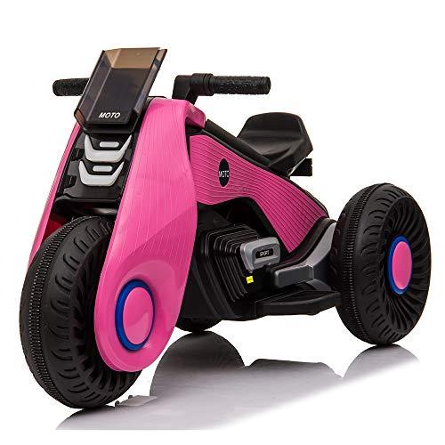 HXL 6V Kids Ride On Motorcycle Toy for Kids Aged 3-8 Years 3-Wheel Power Scooter with Music Double Drive Toys for Boys Girls Gift Black,Pink