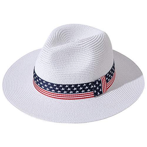 Lanzom Sombrero de paja Panamá de ala ancha para mujer, sombrero de playa Fedora UPF50+ - - Talla única