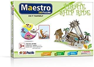Maestro 120096 ATRACCIÓN Barco PIRATA-50 PCS-TAMAÑO MONTADO: 17CM X 12CM X 11CM 3D Puzzles, Multicoloured
