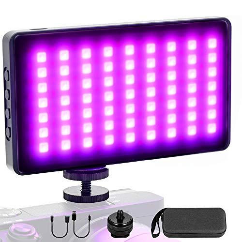 """HAFOKO Lumière Vidéo LED RGB Lumière Caméra Mini Vlog Light (135 LED, Vis 1/4"""" 2500K-8500K, Écran OLED, 4000mAh, Type-C) compatible pour Caméra Smartphone Vlog Vidéos YouTube Live Tiktok Photography"""