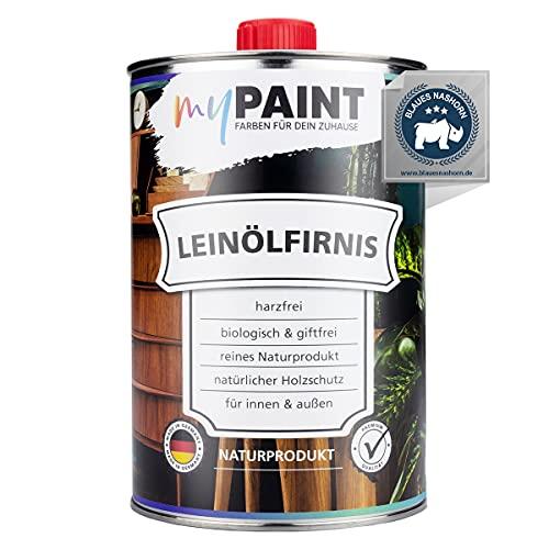 myPAINT® Aceite de linaza biológico (1 litro, brillo sedoso), aceite protector para madera para interior y exterior, aceite de madera de cuidado exterior, fabricado en Alemania