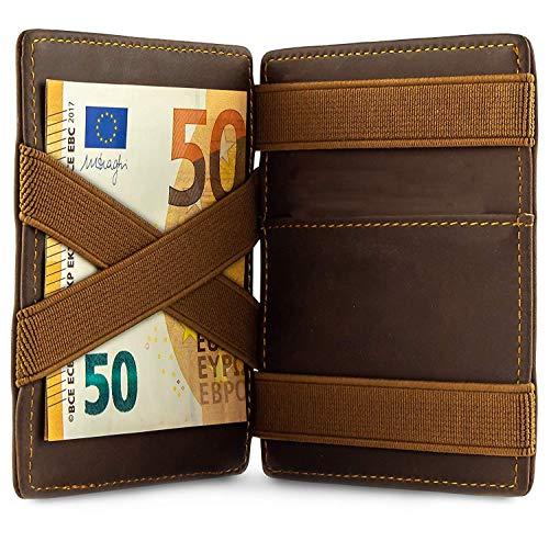 Portafoglio magico - Portafoglio uomo piccolo con tasca portamonete - Protezione RFID certificata TÜV (7 fessure per carte) - Regalo per uomo e donna con confezione regalo