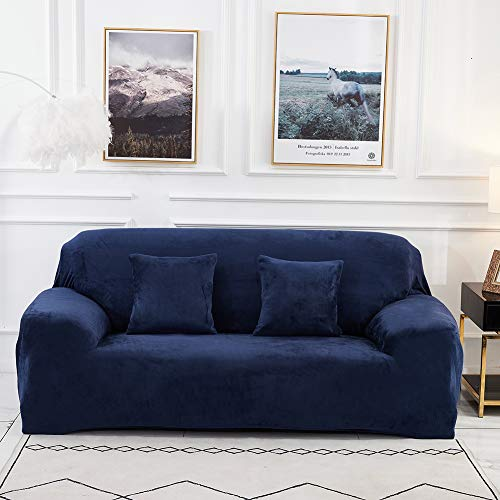 Sinoeem Sofa Covers 1 2 3 4 Seater Velvet (Free 2 Cushion Covers) Pure Color Sofa Slipcovers Protector Easy Fit Elastic Fabric Stretch Machine Washable Couch Slipcover (2 Seater:145-185cm, Sofa-Blue)