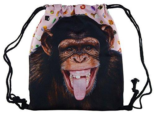 Hanessa Jutebeutel mit Affen Tier Aufdruck Sportbeutel Tüte Rucksack Beutel Tasche Gym Bag Gymsack Hipster Fashion Sport-Tasche Einkaufs-Tasche Weiß AFFE