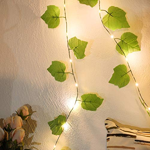 JUSTMYSPORT Artificial ivy garland, fake eucalyptus vines, fairy lights, handmade garland leaves with 100 LEDs, fake vine leaves for wall decoration, powered by 3 batteries, Length: 2m