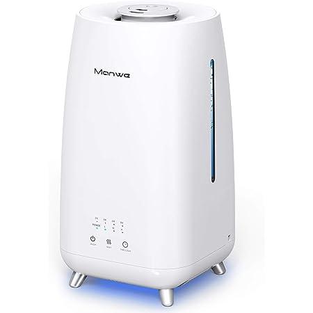 Humidificateur à ultrasons Manwe - 3 l - Jusqu'à 30-40 m² - Humidificateur ultra silencieux - 28 dB - Avec 2 ouvertures de pulvérisation rotatives - Diffuseur d'arômes - Minuterie et veilleuse