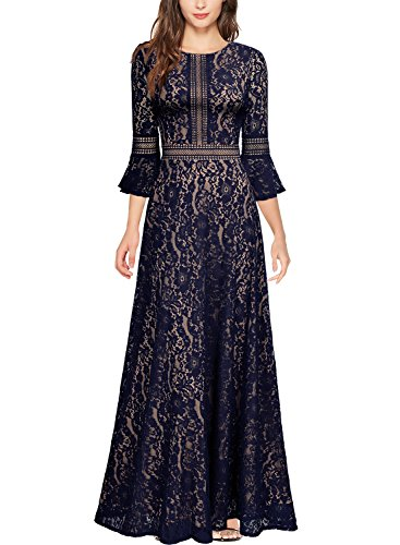 MIUSOL Damen Trompete Armel Spitzen Hochzeit Kleid Cocktail Maxi Abendkleid Navy Blau M