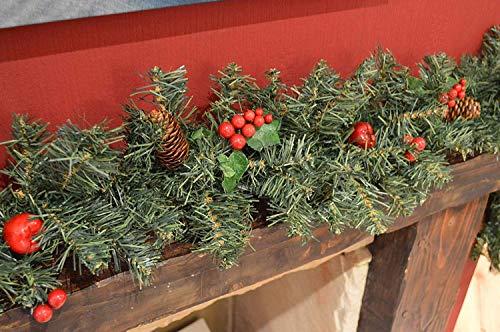 Guirnalda de Navidad para escaleras de chimenea, guirnaldas de Navidad, decoraciones con diseño de bayas rojas, conos de pino y árbol de Navidad, 2,7 m