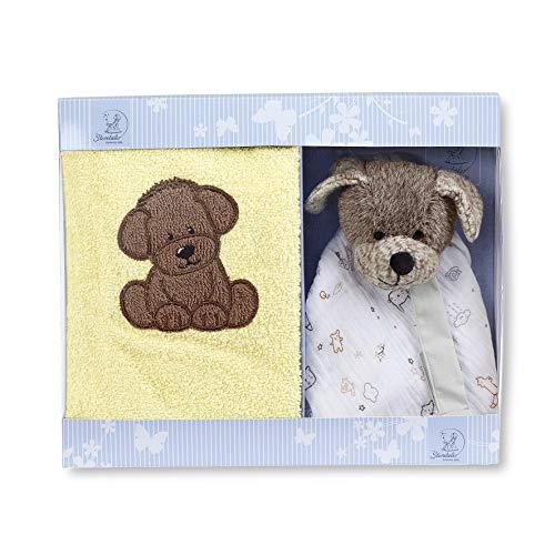 Sterntaler Geschenk-Set Hund Hanno, Schmusetuch klein, Kinderhandtuch, Alter: ab 0 Monaten, Braun/Gelb