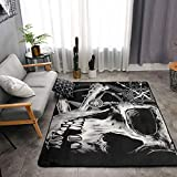 Memory Foam Kitchen Rug for Hotel Playroom Dorm Room, Anti-Skid Backing Floor Mat Doormats Comfort Throw Rugs Carpet, Anti Fatigue, 3D Pirate Skull Black, 63 x 48 Inch