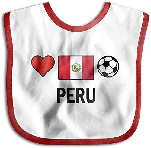 Baberos para recién nacidos con diseño de fútbol de Perú, color rojo