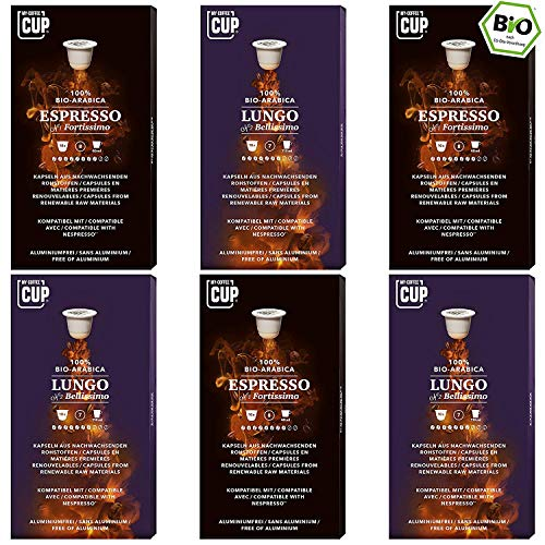 Kaffee-Duo-Box - 6 x 10 BIO Kaffeekapseln von My-CoffeeCup | Kompatibel mit Nespresso®*-Maschinen | Industriell kompostierbare Kapseln ohne Alu | 60 Kapseln 2 Sorten