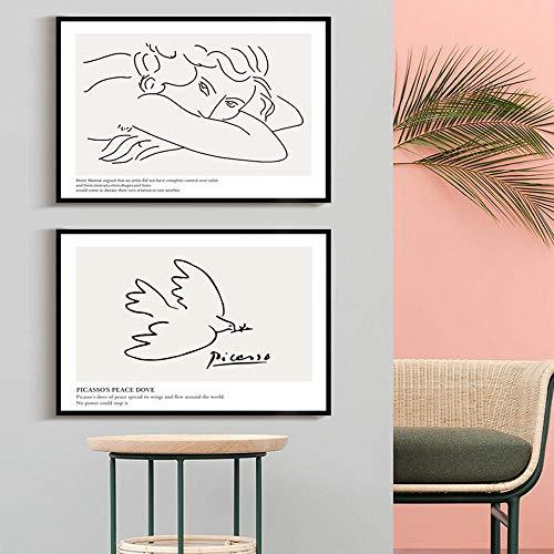 Picasso Minimalist Strichzeichnung Frieden Taube Frau Poster Schwarz Weiß Wandkunst Drucke Bild Für Wohnzimmer Schlafzimmer Wanddekoration 40x60cmx2 Kein Rahmen