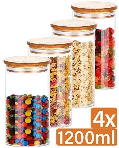Praknu Bocaux en Verre Hermetiques avec Couvercle en Bambou - Réutilisable - 8 Joints - 1,2 L - Lavable au Lave-Vaisselle
