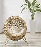 KNIPSA BIRD NEST KITTY BASKET HOUSE(Seagrass Woven Basket/Cat House/Natural/Cat Cave/Cat Perch/Plant Basket/Cat furniture/Cat Supplies)Gifts for your loving pets/Halloween/Thanksgiving/Christmas