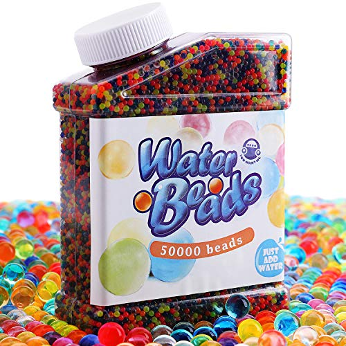 Water Beads Pack (50000 Beads) Rainbow Mix Jelly Water Growing Balls for Kids Tactile Sensory Toys, Vases, Plants, Wedding and Home Decoration