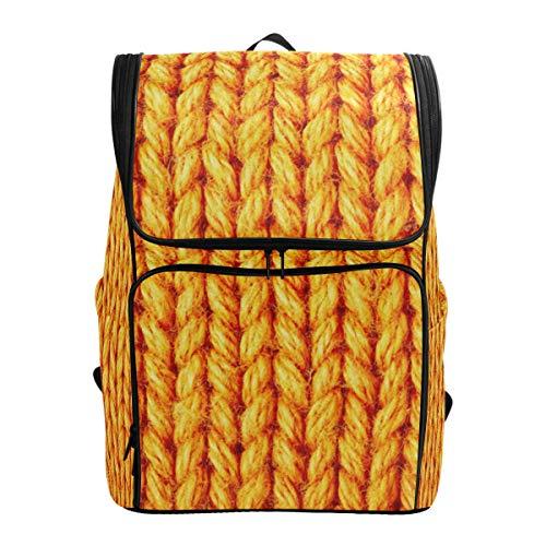 Mochila Mochila Mochila de Viaje Textura de Lana Amarilla Bay Book Bag Casual Travel Impermeable