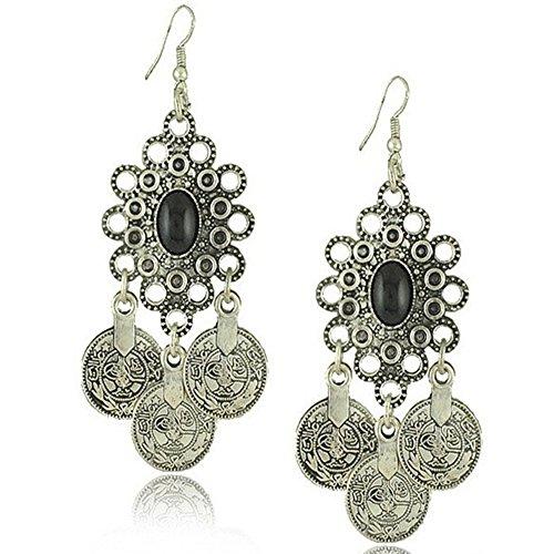 Idealway - Orecchini in argento con moneta turca, motivo floreale, stile boho, gitano, spiaggia, etnico, tribale