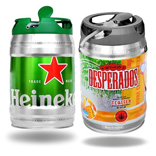 Desperados Tequila und Heineken Bier mit Zapfhahn je 5 Liter Partyfass
