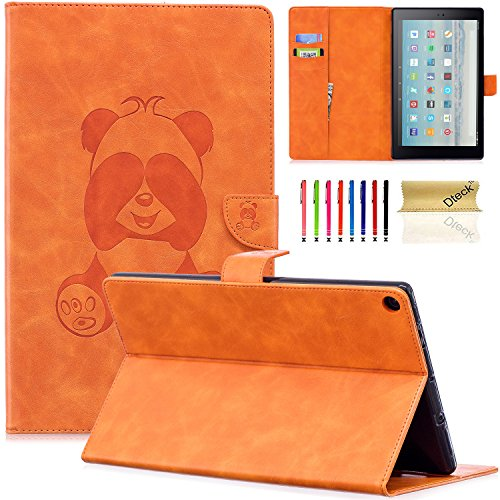 Dteck Case for Amazon Fire HD 10 Tablet (2015 & 2017 Release) - Slim Fit 3D Cute Panda Embossed Wallet PU Leather Case Cover Folio Stand with Auto Sleep/Wake for Fire HD 10.1 Inch Tablet, Orange