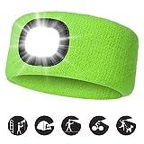 INHDBOX USB Nachladbare Stirnband mit LED Beleuchtetes, Laufhut 4 LED-Lampe mit Wasserdichtem Licht und Blinkender Alarmscheinwerfer Hohe Stretch Multi-Color, Unisex Scheinwerfer-Mütze