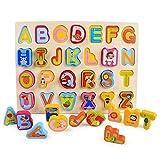 Moonvvin - Rompecabezas de madera para niñas y niños pequeños, rompecabezas de madera para 2 a 5 años - números, alfabetos y forma (alfabeto)