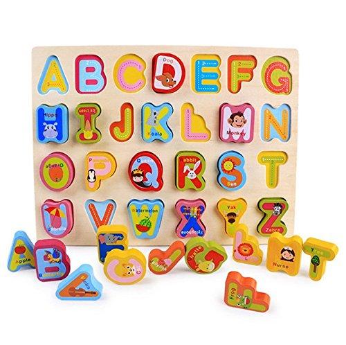 Moonvvin Puzzle en bois 3D pour filles, garçons, tout-petits, bébés et enfants de 2 à 5 ans – Chiffres, alphabet, et forme puzzle (alphabet)
