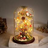 Timker Arbol Navidad Pequeño Arboles De Navidad con Luces Integradas Adornos Navideños En Cúpula De Vidrio para Navidad Decoración Casa