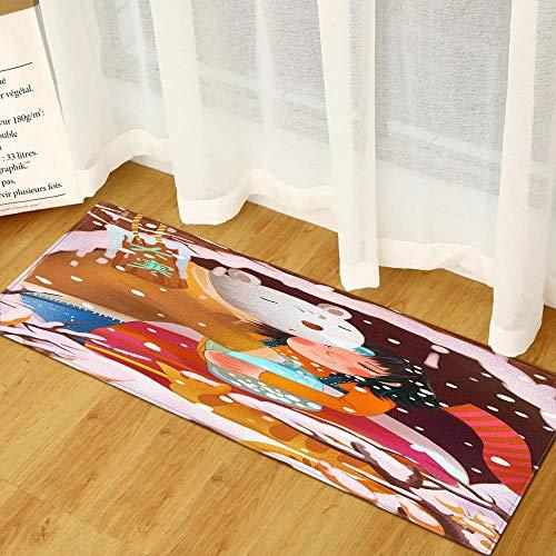 XIAOZHANG Alfombra De Piso Franela Suave Niña De Dibujos Animados Antideslizante Alfombrilla De Baño Sala De Estar Cocina Dormitorio De Interior Exterior 60X180Cm