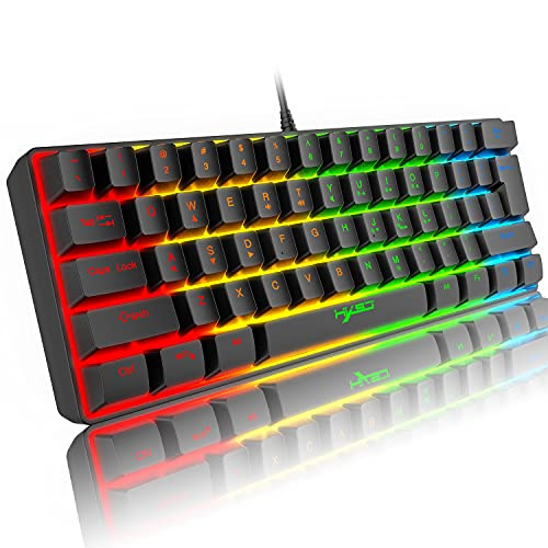 60% Teclado de Juego RGB con Cable, 61 Teclas Mini Teclado Compacto portátil con 11 Chroma RGB retroiluminado, Teclas Anti-ghosting Completas,USB Office/Game Mechanical Feel Keyboard para PC Computer