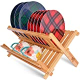 Bamboo 2 Tier Dish Drying Rack - Collapsible Dish Drainer Utensil Rack and Best Dish Holder for Kitchen Countertop by Royal Craft Wood