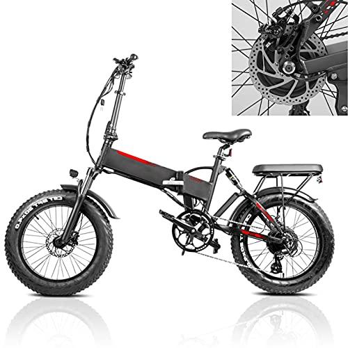 Bicicleta electrica Plegable Velocidad máxima de conducción 45 km/h Bicicletas eléctricas de montaña Plegable Bici Plegable Iones de Litio 13.6AH Tamaño de llanta 20 * 4.0, Negro